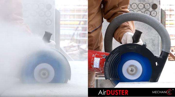 резка штробы без пыли с пылесосом с помощью Air Duster