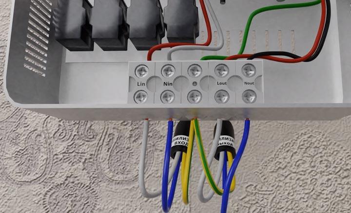 присоединение кабеля на нагрузку стабилизатора напряжения