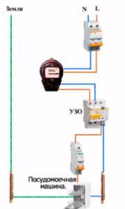 подключение посудомоечной машины через узо и автомат