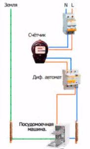 схема подключения посудомоечной машины через диффавтомат