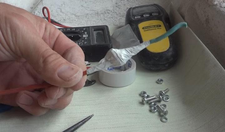 соединение медного провода и алюминиевого после изоляции