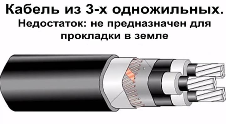 трехфазный кабель их трех однофазных не предназначен для прокладки в земле