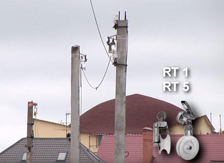 монтаж СИП по бетонным опорам через ролики