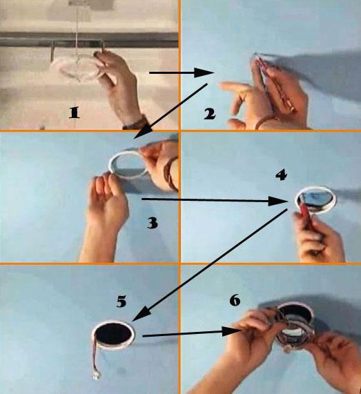 монтаж термокольца и подготовка потолка под светильник