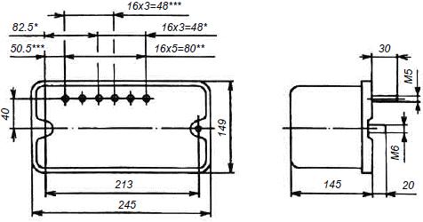Габариты токовых реле серии РТ80…90.