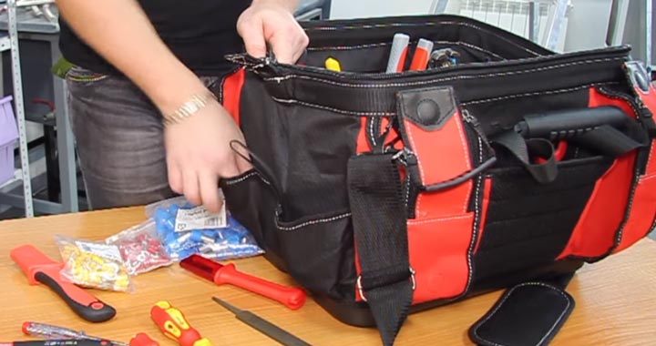 карманы с торца сумки С-05 под расходку и клеммники