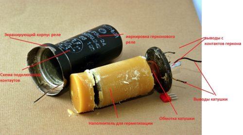 Элементы конструкции герконового реле РЭС -24
