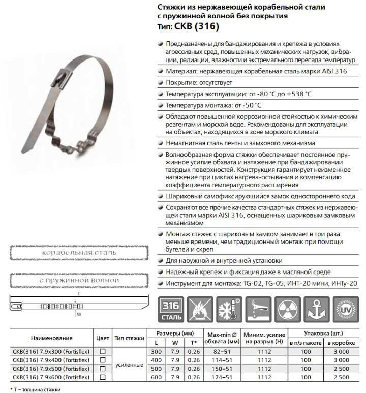 стальная стяжка кабельная характеристики СКВ 316 фортисфлекс