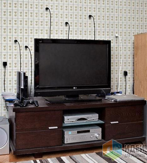 подключение компьютеров и жк телевизоров через удлинители на стене
