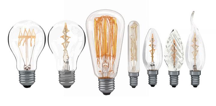 разные виды филаментных ламп