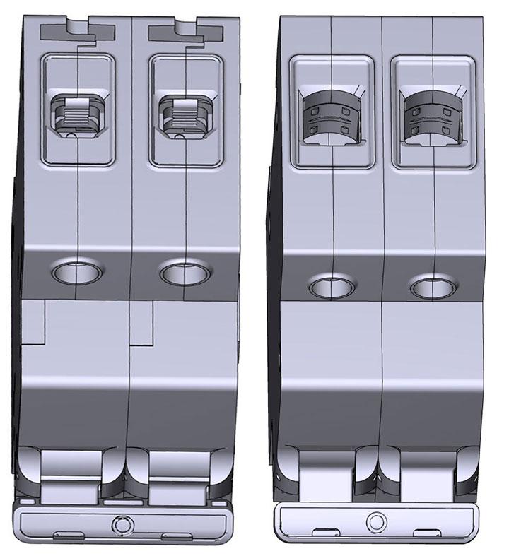 автомат и выключатель нагрузки в полукруглой формой клемм