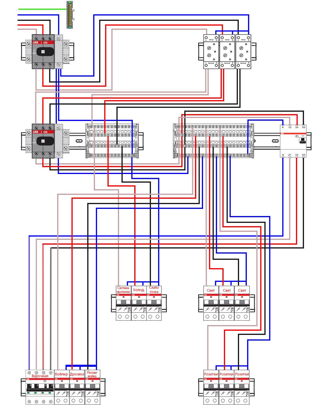 схема трехфазного распределительного электрощитка на диффавтоматах для дома и квартиры
