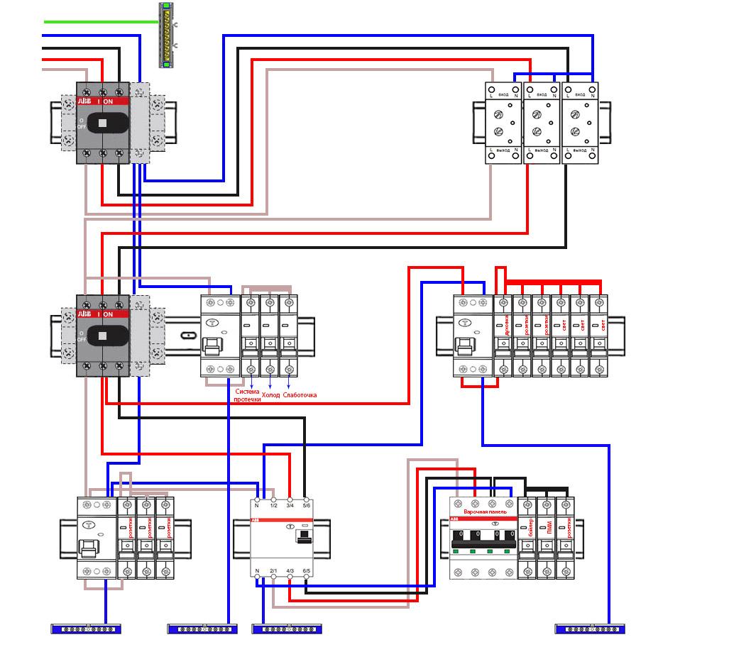 схема сборки трехфазного щитка в дом с УЗО и однополюсными автоматами