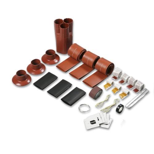 Концевое термоусаживаемое устройство в разобранном виде состоит из нескольких элементов