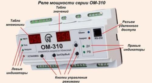 На рисунке представлены основные элементы конструкции ограничителей мощности марки ОМ-310