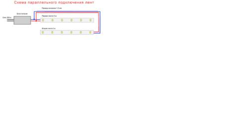 Схема параллельного подключения нескольких светодиодных лент через блок питания к сети 220 В