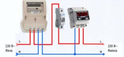 Схема подключения реле напряжения в однофазную сеть является самой простой