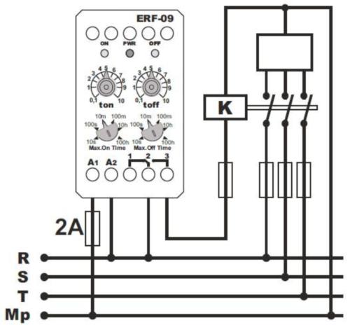 Схема подключения реле времени марки ERF-09 к трехфазной сети через контактор