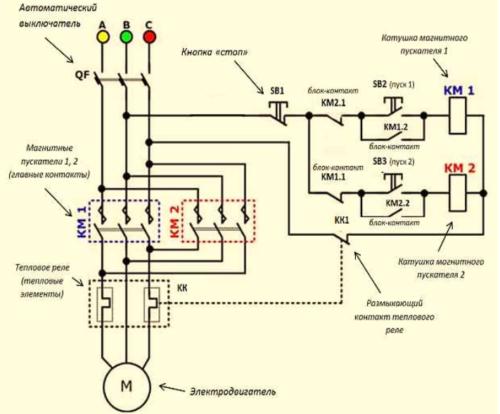 Принципиальная схема для подключения тепловых реле в электродвигателях любых модификаций