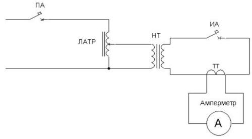 Схема работы для проверки автоматического выключателя с использованием лабораторного трансформатора