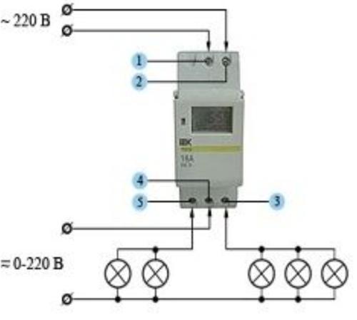 Схема подключения реле времени к сети с электроприборами со значительной нагрузкой