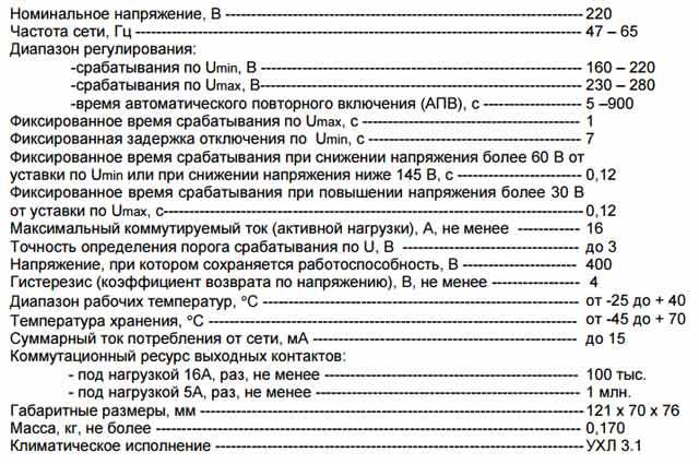 техпараметры РН-101М