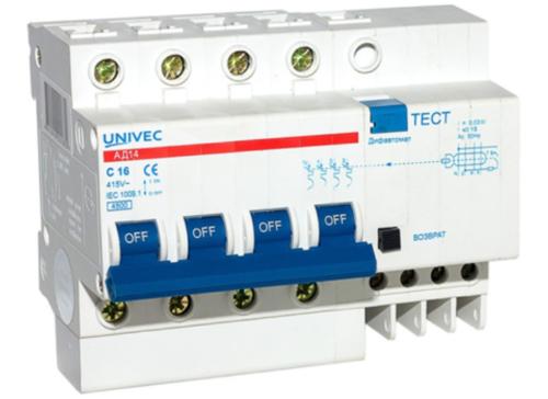 Дифференциальный автомат марки Univec АД-12 для защиты от поражения электрическим током