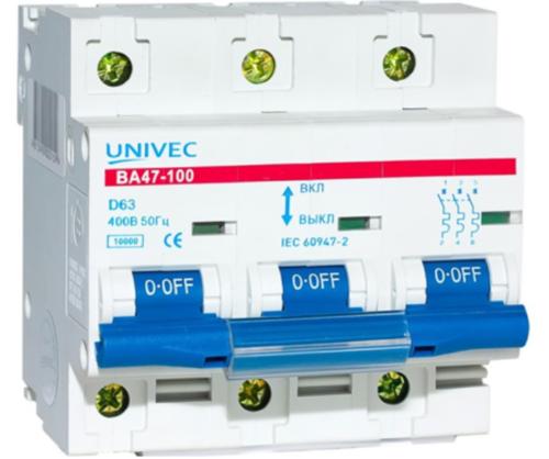 Автовыключатель марки Univec ВА47-100 оснащается двумя системами защиты от воздействия сверхтоков