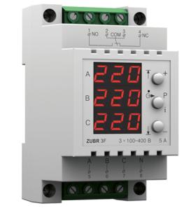 Реле контроля напряжения ZUBR надежно защищают трехфазную сеть от перенапряжений