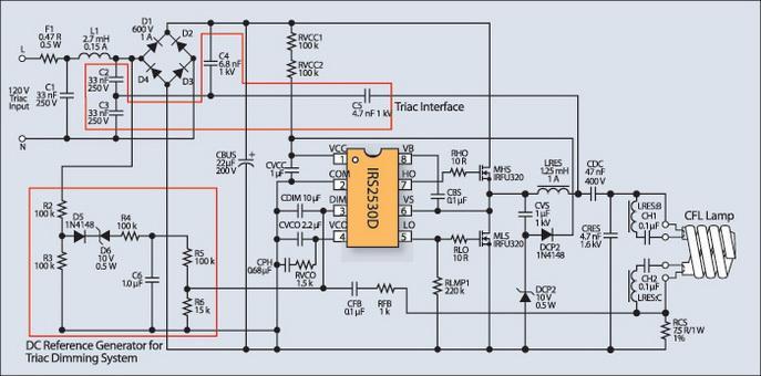 Схема диммера для люминесцентной лампы
