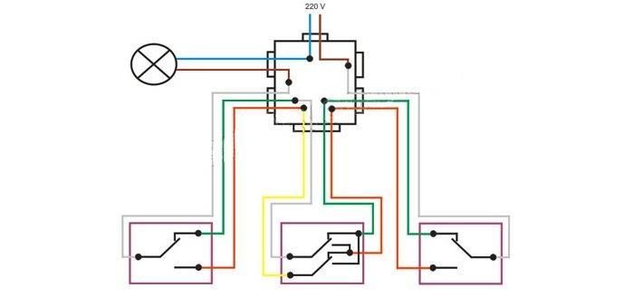 Схема подключения одного перекрестного и двух проходных коммутаторов