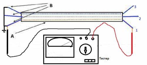 Прозвонка кабеля с проводами одного цвета