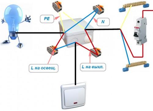 Подключение проводов с заземлением (РЕ)