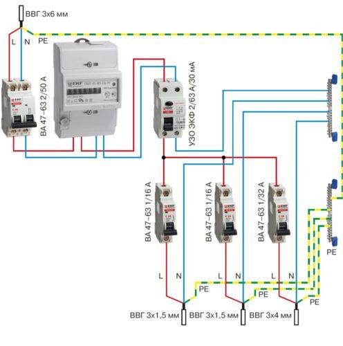 Схема бытовой проводки с РЕ-проводником