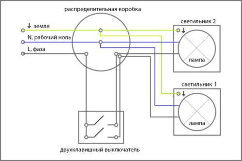 Схема подключения двухклавишного устройства в домашнюю сеть с при наличии заземления
