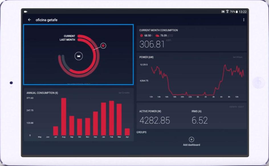 расход электроэнергии в текущем месяце и в прошлом на экране wibeee анализатора
