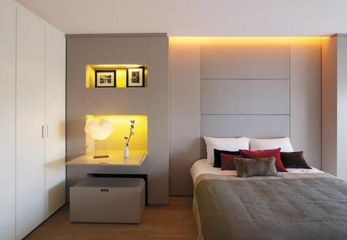 управление освещением - приглушенный свет в спальне