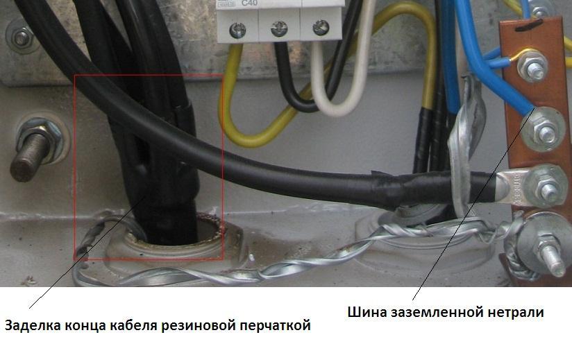 Пример установки кабеля с резиновой перчаткой на конце в РУ или РЩ